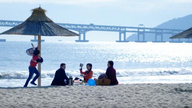 弟兄和家人一起在海边玩耍