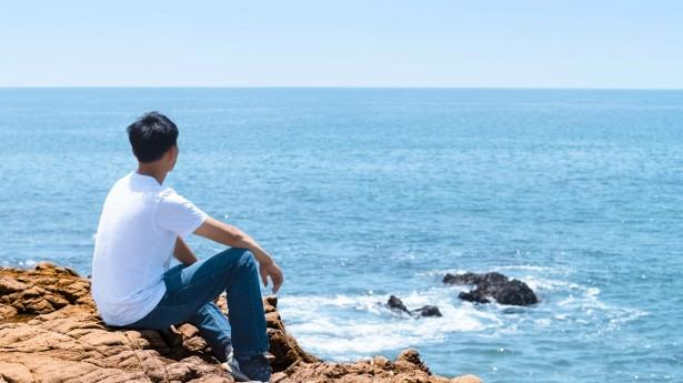 弟兄在海边看海