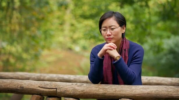 一个女士站在木桥上思考问题